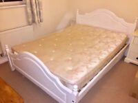 White painted pine double bed & mattress