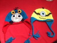 Hand knitted thomas & minion hats