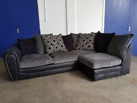 BLACK & GREY FABRIC SUEDE LEATHER EFFECT PILLOW BACK CORNER SOFA / SETTEE / SUITE DELIVERY AVAILABLE