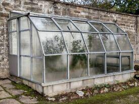 Aluminium lean to walk in greenhouse