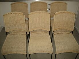 Modern wicker steel framed chairs - set of 6