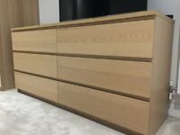 IKEA MALM White Oak 6 Drawer Dresser