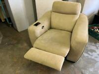 HARVEYS FABRIC ARMCHAIR ELECTRIC RECLINER IN GOOD CONDITION