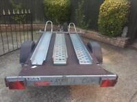 LARGE Brenderup 8x4 flatbed/Motorbike Trailer + ramp/spare wheel
