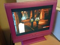 Small Pink 19 inch TV Freeview Built In With Remote £30