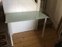 Narrow glass desk ideal for student, or laptop or printer, or hall stand etc