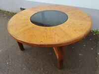 1960s G Plan Smoked Glass and Teak framed Circular Coffee Table. Vintage/Retro/Mid Century