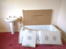 Brand new :Bath(l-shaped),shower screen,front and end panel. Can deliver to Melksham area+ .
