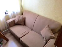 2 seater beige sofa bed