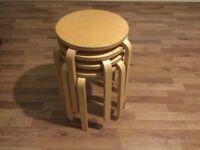 Oak effect stools