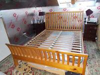 Sleigh Bed - Kingsize (five foot) - Solid Oak