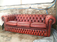 BEAUTIFUL CLASSIC 3 SEAT OXBLOOD LEATHER CHESTERFIELD SOFA RED COUCH VINTAGE