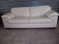 Large Luxury Cream Leather 3+2-seater Suite