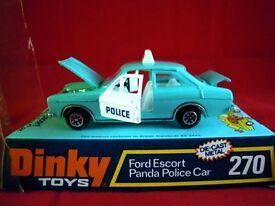 SUPERB 1973 DINKY 270 DIECAST FORD ESCORT PANDA POLICE CAR WITH ORIGINAL BOX