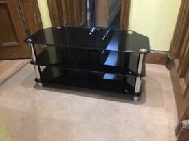 Tv cabinet glass black and silver.