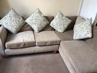 Next L-shaped sofa suede in mink colour £175 ONO