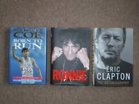 Good condition books, Autobiography. Sebastian Coe, Ronnie Wood and Eric Clapton
