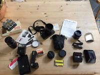 job lot of Pentax camera equipment - Pentax super A, 3x lenses, flash, lots of extras!