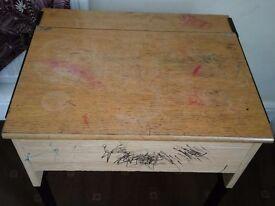 Solid Wooden Desk Metal Frame. Old School