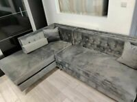 ⭐️SALE ON FURNITURE⭐️Florence sofa-plush velvet left/right hand corner sofa-in grey color⭐️
