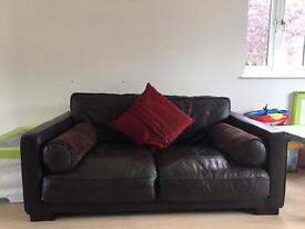 2 seater luxury leather sofa in dark brown
