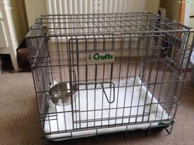 Crufts 1102 high quality Dog crate including vet bed and clip on bowl