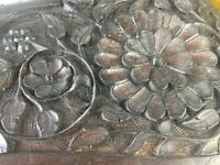 Vintage hand carved wooden mirror for sale in mint condition. Beautiful, very heavy