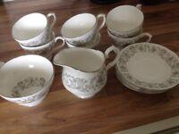 Royal Stafford Bone China 6 px Tea-Set, Cake plate and 6 Side plates