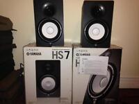 Yamaha HS7 Active Studio Monitors Speaker Stands, Isolation Pads, Cables, Boxes, Manuals