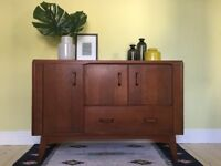 Retro Vintage Mid Century G Plan E Gomme Solid Teak Sideboard Cabinet with Drawer