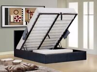 SINGLE - DOUBLE - KING SIZE - OTTOMAN STORAGE LEATHER BED BLACK BROWN WHITE WITH MATTRESS