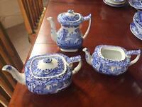 Collection of 3 original Italian Blue Spode Teapots