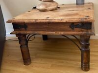 RUSTIC LOOK WOODEN SQUARE TABLE WITH METAL DETAILING
