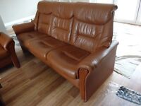 ONE 3 SEATER, STRESSLESS EKORNES LEATHER RECLINER SOFA