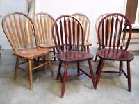 6 STYLISH SOLID CHAIRS - wooden furniture - excellent to own projects.