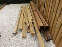 FREE FENCE POSTS TIMBER WOOD LUMBER MOSTLY UNUSED NEW