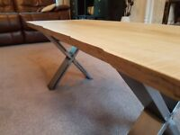 NEW Handmade Live Edge Coffee Table with X-Shaped Steel Legs