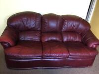 Burgundy red Leather sofa and chair