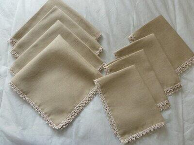 Vintage Beige Flax Polyester Cloth Place mats Napkins serviettes x 4