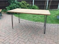 Reclaimed timber dining table , hairpin legs