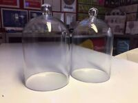 Two extra large domed straight edged glass bell jars 30cm (h) 20cm (w)