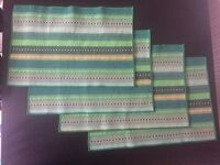 Handmade Woven Braided Ribbed 100% Cotton Green Table Placemats / Table Mats