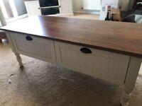 Cream and dark wood coffee table