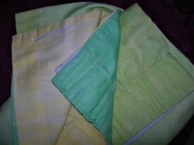 Pair of CURTAINS : LOVELY SHADES : LIME, LEMON, EMERALD GREEN (MATCHING BEDDING LISTED)