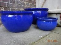 BLUE GLAZED STONEWARE POT SET