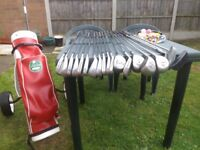 golf club with bag and trolley