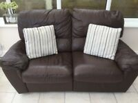 2 Seater reclining leather sofa.