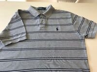 RALPH LAUREN POLO Shirt Mens Classic Fit Grey Striped t-shirt boys unisex Medium Large M RRP £75