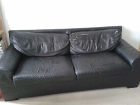 Black leather sofa bed FREE