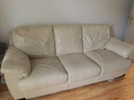Leather Cream sofa for sale